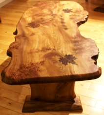 Maple leaf table with shelf top