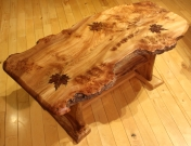 Maple leaf table with shelf side
