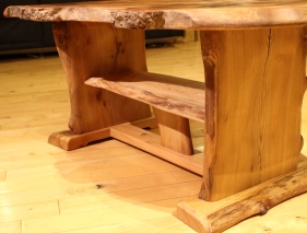 Maple leaf table with shelf - low