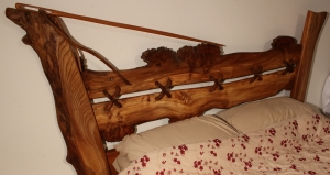 'Needle and thread' Burr Elm Bed Canopy left