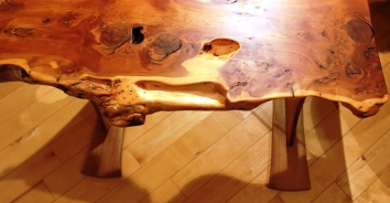 Axe Legged Yew bench top