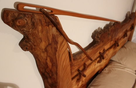 'Needle and thread' Burr Elm Bed detail